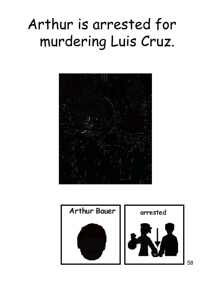 Arthur is arrested for murdering Luis Cruz.