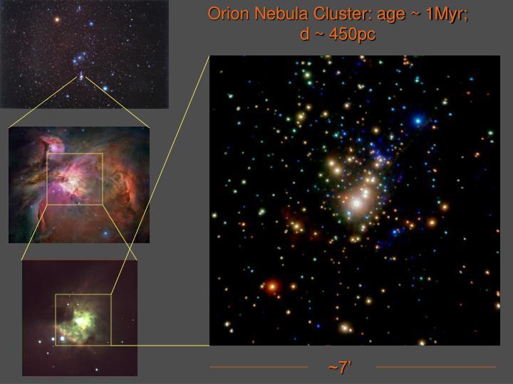 Orion Nebula Cluster: age ~ 1Myr;
