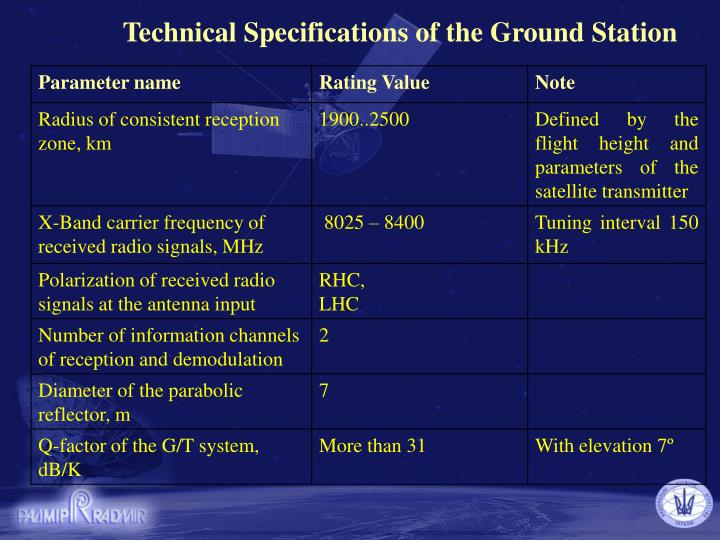 Technical Specifications of the Ground Station