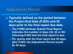 adjustment period