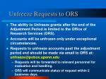 unfreeze requests to ors