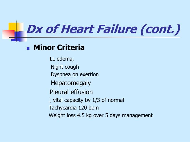 Dx of Heart Failure (cont.)