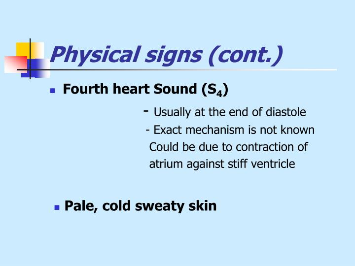 Physical signs (cont.)