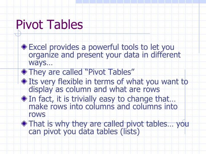 Pivot tables1