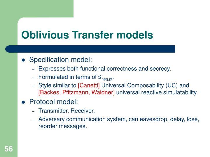Oblivious Transfer models