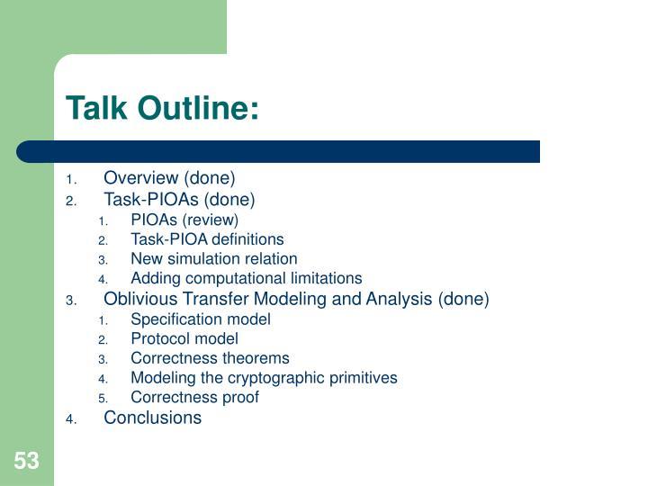 Talk Outline: