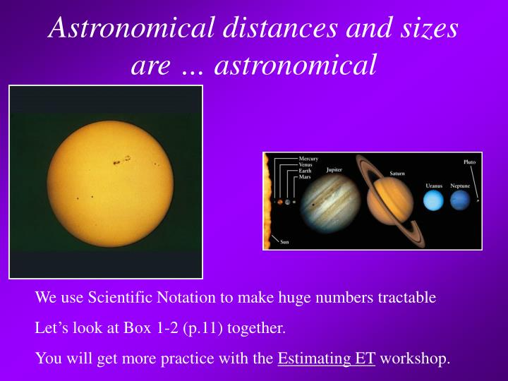 Astronomical distances and sizes are … astronomical