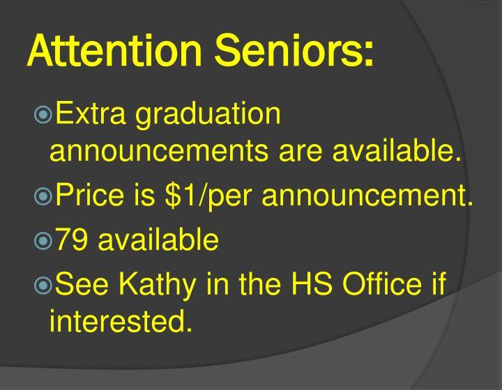 Attention Seniors: