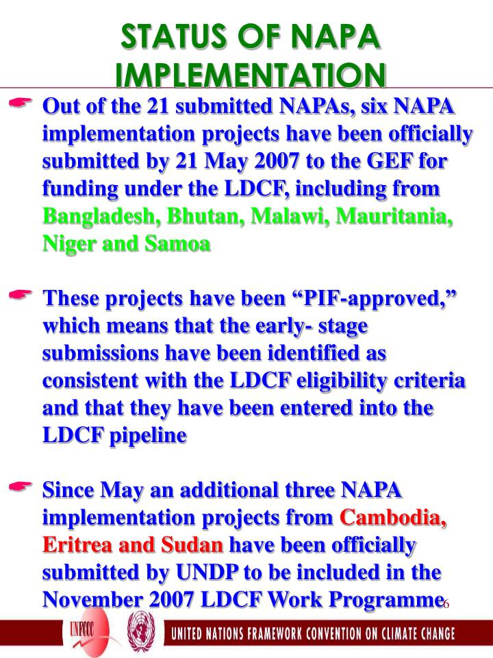 STATUS OF NAPA IMPLEMENTATION