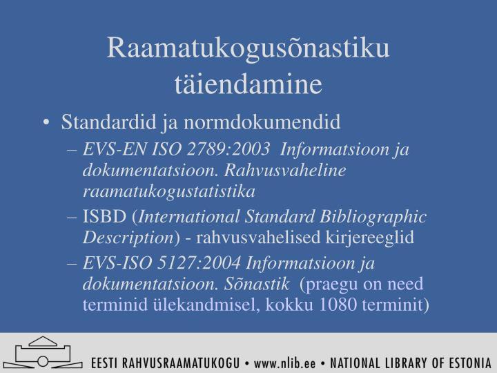 Raamatukogusõnastiku täiendamine