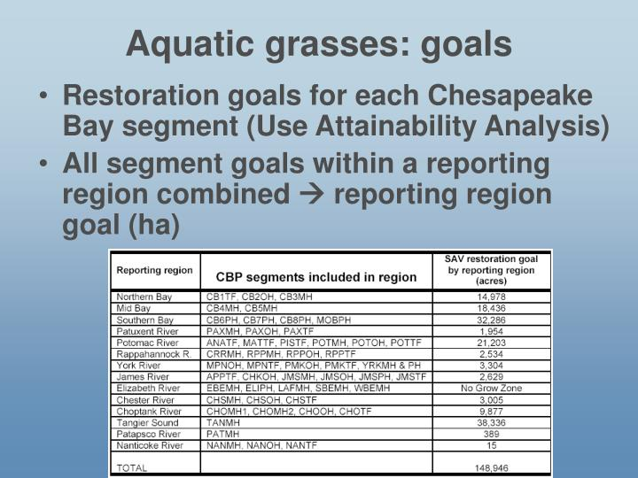 Aquatic grasses: goals