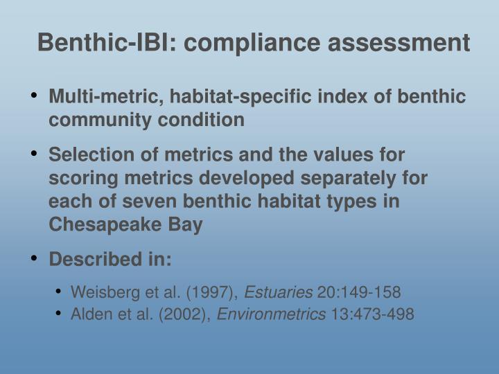 Benthic-IBI: compliance assessment
