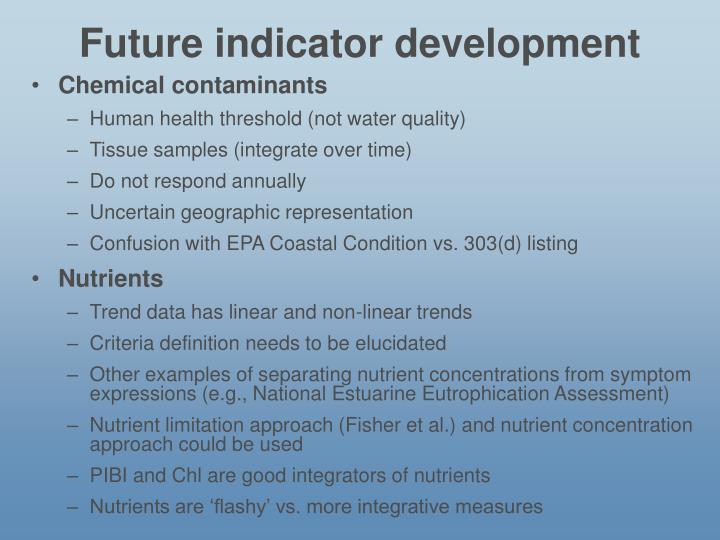 Future indicator development