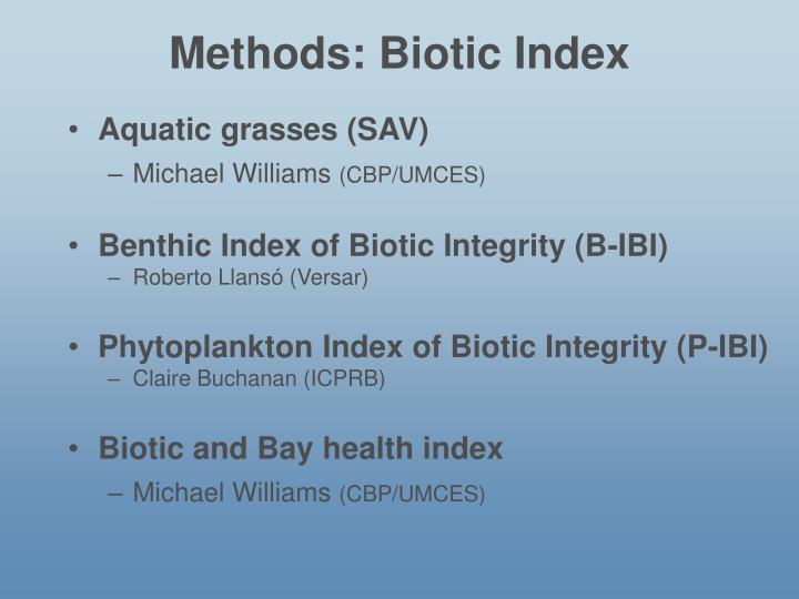 Methods: Biotic Index