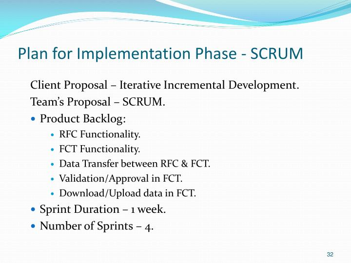 Plan for Implementation Phase - SCRUM