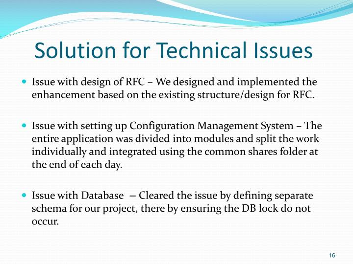 Solution for Technical Issues