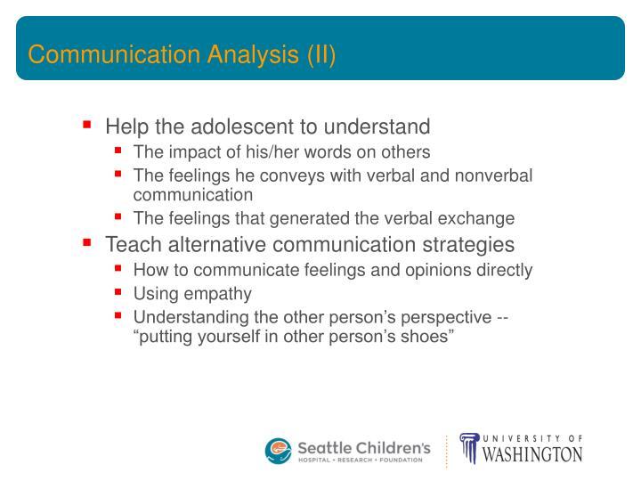 Communication Analysis (II)