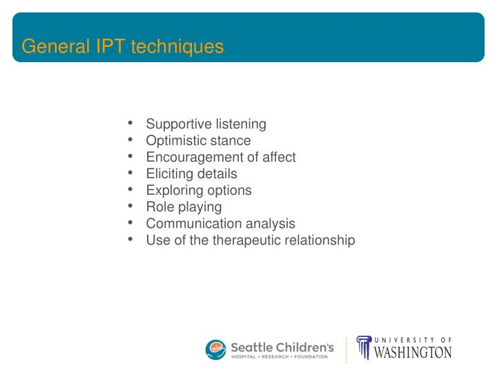 General IPT techniques