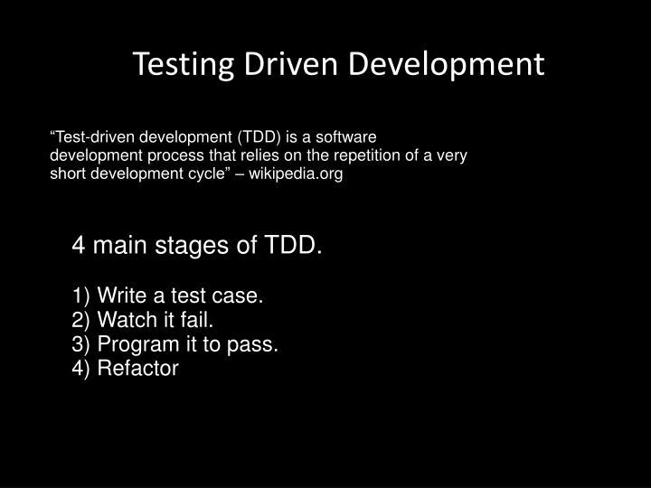 Testing Driven Development