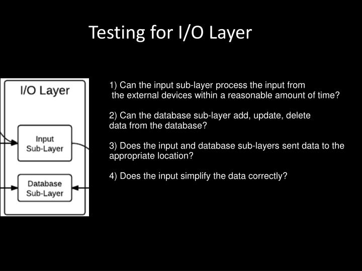 Testing for I/O Layer