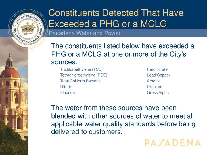 Constituents Detected That Have Exceeded a PHG or a MCLG