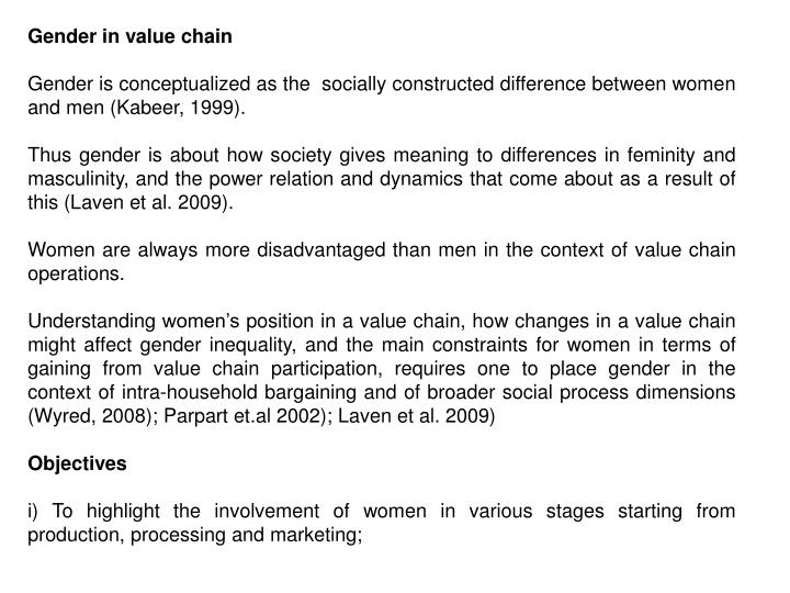 Gender in value chain