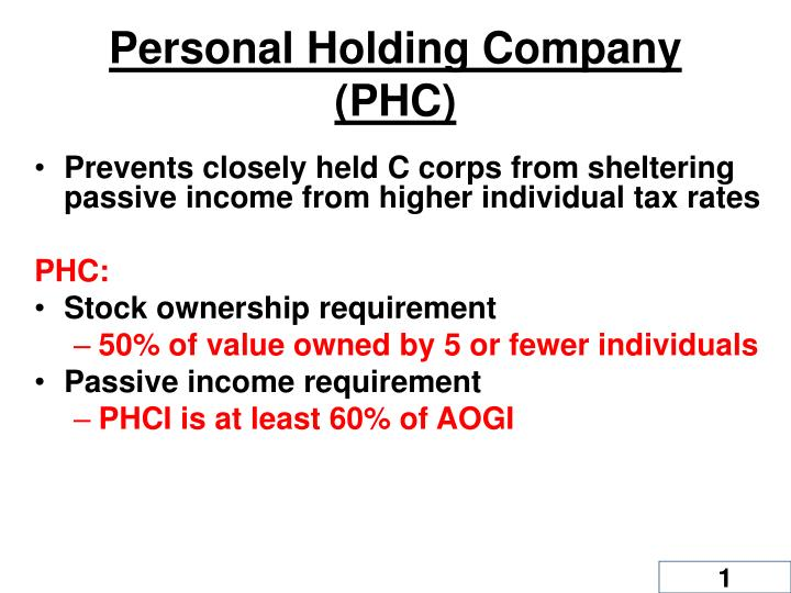personal holding company phc n.
