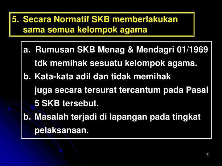5. Secara Normatif SKB memberlakukan sama semua kelompok agama