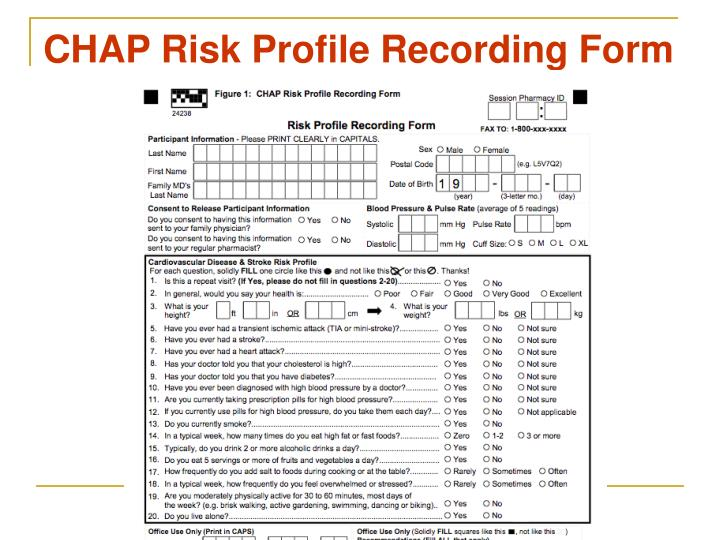 CHAP Risk Profile Recording Form