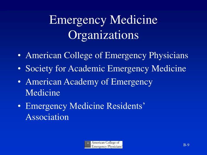 Emergency Medicine Organizations