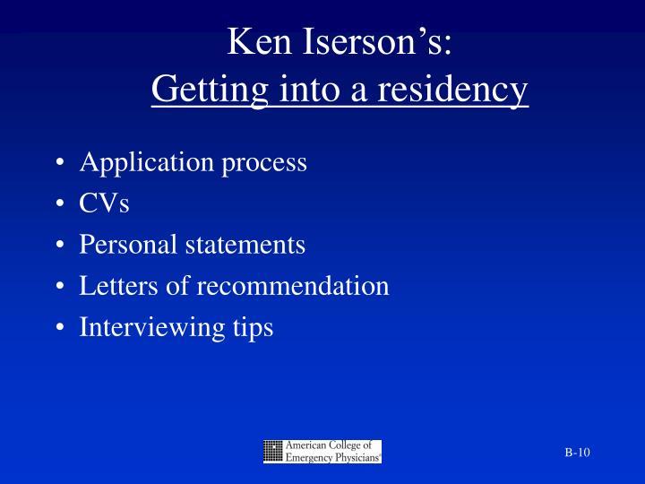 Ken Iserson's: