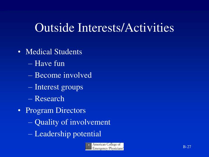 Outside Interests/Activities