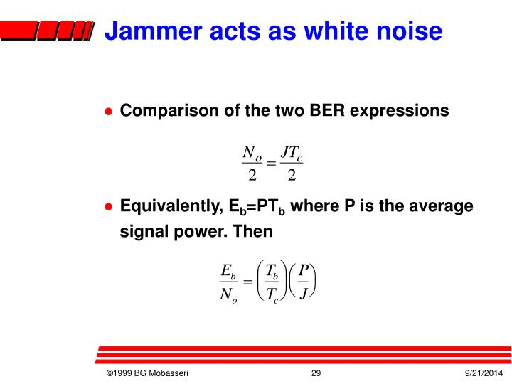 Jammer acts as white noise