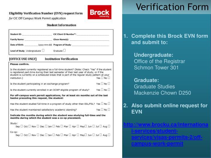 Verification Form