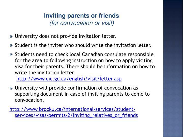 university does not provide invitation letter