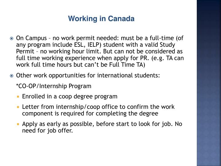 Working in Canada