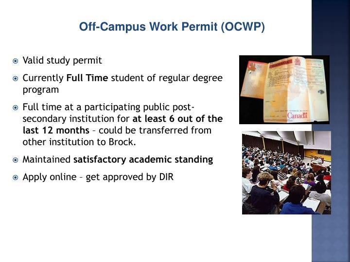 Off-Campus Work Permit (OCWP)