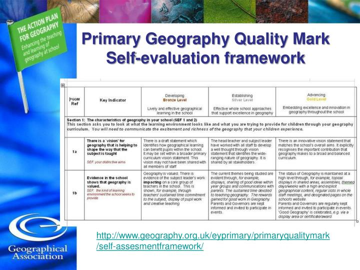 self evaluation of geography education Use geography skills to create neighborhood maps, and identify connections between geography, culture, and the economy in their local area begin the lesson by viewing understanding: geography then talk about the science of geography, the types of things geographers study, and the reasons they .