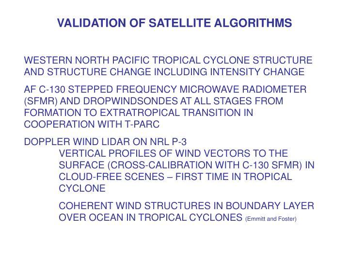 VALIDATION OF SATELLITE ALGORITHMS