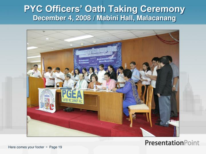 PYC Officers' Oath Taking Ceremony