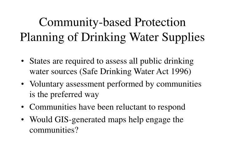 Community-based Protection Planning of Drinking Water Supplies