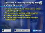 objectives of licence packaging design and award process