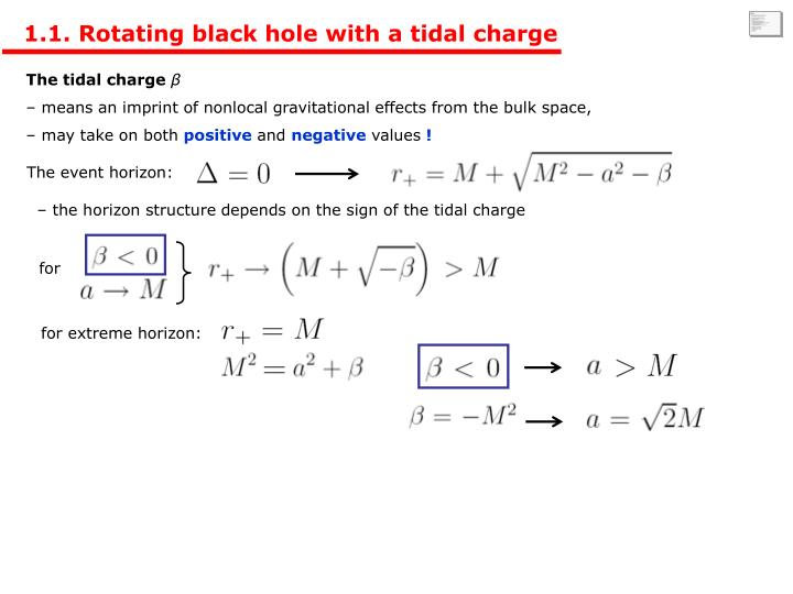 1.1. Rotating black hole with a tidal charge