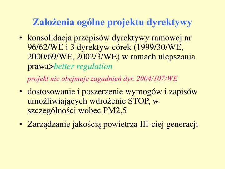 Założenia ogólne projektu dyrektywy