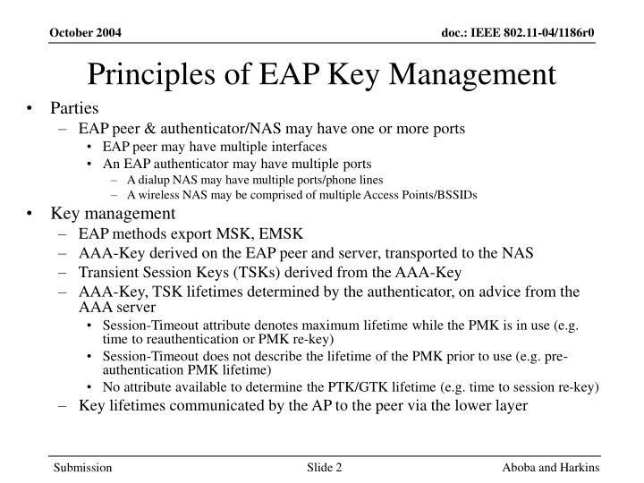 Principles of eap key management