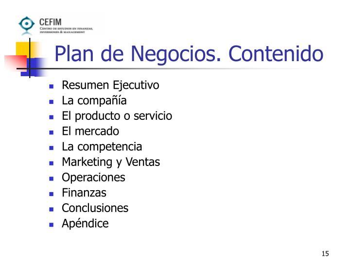 Plan de Negocios. Contenido