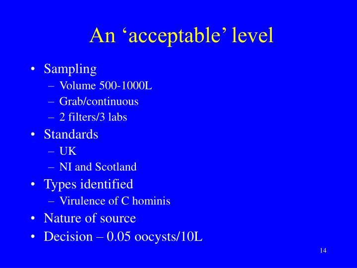 An 'acceptable' level