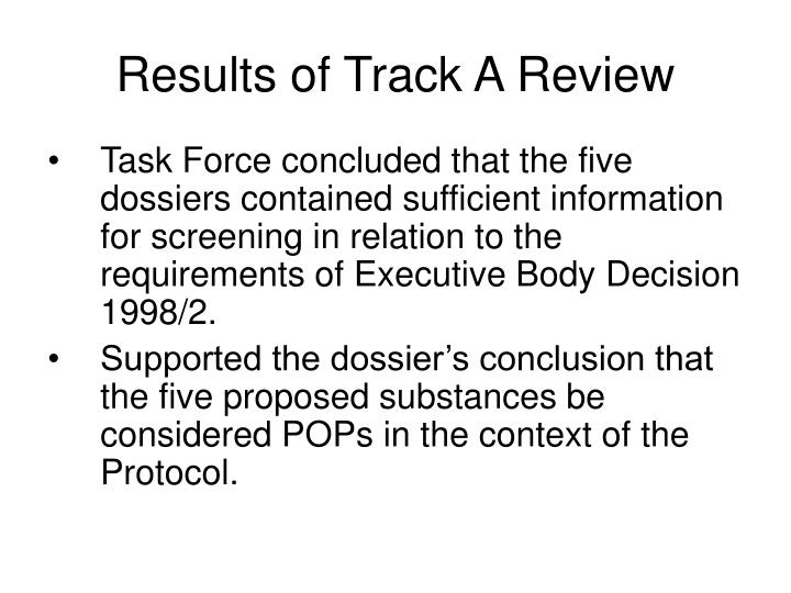 Results of Track A Review