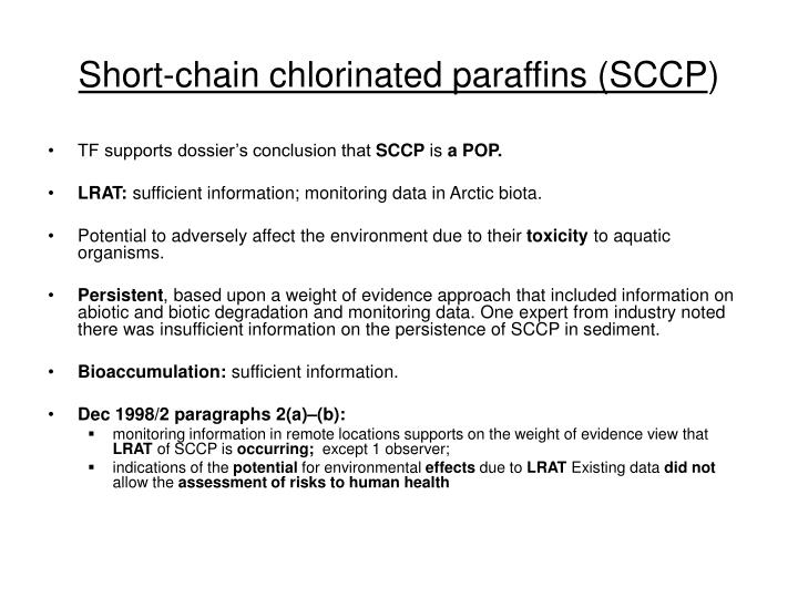 Short-chain chlorinated paraffins (SCCP