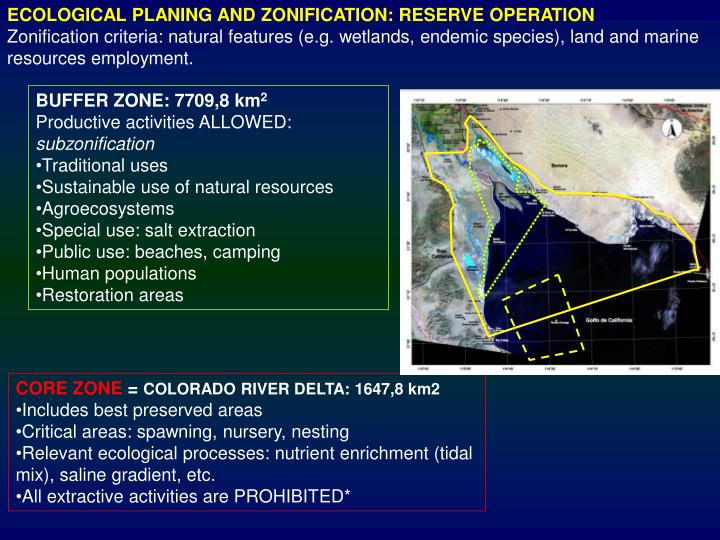 ECOLOGICAL PLANING AND ZONIFICATION: RESERVE OPERATION